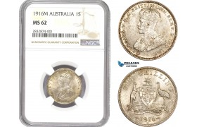 AD707, Australia, George V, 1 Shilling 1916-M, Melbourne, Silver, NGC MS62