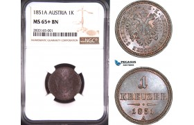 AD709, Austria, Franz Joseph, 1 Kreuzer 1851-A, Vienna, NGC MS65+BN