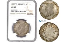 AD710, Bolivia, 4 Soles 1858 PTS/FJ, Potosi, Silver, NGC AU50
