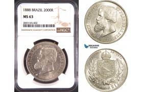AD711, Brazil, Pedro II, 2000 Reis 1888, Silver, NGC MS63