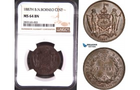 AD712, British North Borneo, 1 Cent 1887-H, Heaton, NGC MS64BN