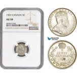 AD715, Canada, Edward VII, 5 Cents 1907, Silver, NGC AU58