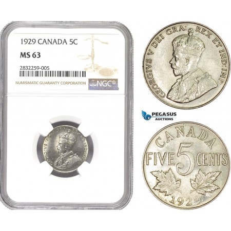 AD716-R, Canada, George V, 5 Cents 1929, NGC MS63