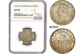AD717, Canada, Newfoundland, 25 Cents 1917-C, Silver, NGC AU58