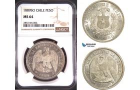 AD718, Chile, 1 Peso 1889-SO, Santiago, Silver, NGC MS64