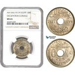 AD720, Egypt, Occupation Coinage, 10 Milliemes AH1335/1917-H, Heaton, NGC MS65