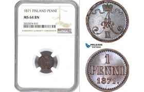 AD722, Finland, Alexander II. of Russia, 1 Penni 1871, NGC MS64BN
