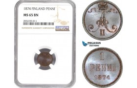 AD723-R, Finland, Alexander II. of Russia, 1 Penni 1874, NGC MS65BN, Top Pop!
