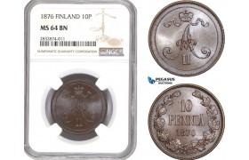 AD724, Finland, Alexander II. of Russia, 10 Penniä 1876, NGC MS64BN, Pop 1/0