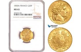 AD727, France, Second Republic, 20 Francs 1850-A, Paris, Gold, F.529/2 (Short dog ear) NGC MS63, Rare!