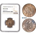 AD729, France, Napoleon III, 5 Centimes 1853-MA, Marseille, NGC MS63RB, Pop 1/0