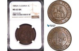 AD732, French Indo-China, 1 Centime 1885-A, Paris, NGC MS63BN