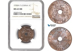 AD735, French Indo-China, 1 Centime 1938-A, Paris, NGC MS63RB