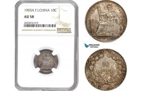 AD736, French Indo-China, 10 Centimes 1903-A, Paris, Silver, NGC AU58