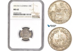 AD737, French Indo-China, 10 Centimes 1917-A, Paris, Silver, NGC MS62