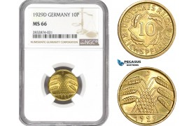 AD738, Germany, Weimar, 10 Reichpfennig 1929-D, Munich, NGC MS66, Pop 1/0