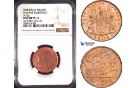 AD742, India, Madras Presindency, 10 Cash 1808, NGC UNC Det.
