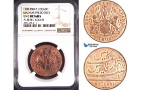 AD743, India, Madras Presindency, 20 Cash 1808, NGC UNC Det.