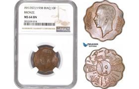 AD745-R, Iraq, Faisal II, 10 Fils AH1357 / 1938, London, Bronze, NGC MS64BN