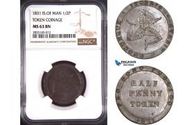 AD746, Isle of Man, Token 1/2 Penny 1831, NGC MS63BN, Pop 1/0
