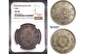 AD748, Japan, Meiji, Yen Yr. 3 (1870) Silver, Type I, NGC AU58