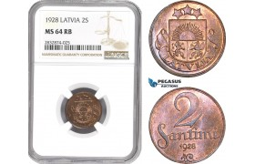 AD749, Latvia, 2 Santimi 1928, NGC MS64RB