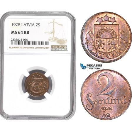 AD749, Latvia, 2 Santimi 1928, NGC MS64RB