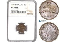 AD750, Lithuania, 2 Centai 1936, NGC MS63BN