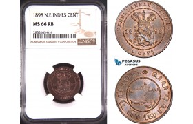 AD751, Netherlands East Indies, 1 Cent 1898, NGC MS66RB, Pop 1/0