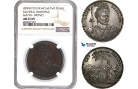 AD752-R, New Zealand, Token Penny ND, KM-TN49, Milner & Thompson, Maori, NGC AU55BN