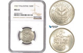 AD753, Palestine, 50 Mils 1927, London, Silver, NGC MS61
