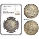 AD754-R, Peru, 5 Pesetas 1880-B/BF, Silver, No Dot, NGC AU55