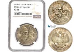 AD762-R, Russia, Nicholas II, Rouble 1913 (Romanov Dynasty) St. Petersburg, Silver, NGC MS63