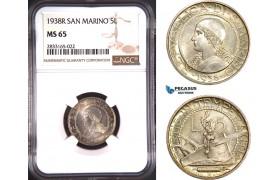 AD763, San Marino, 5 Lire 1938-R, Rome, Silver, NGC MS65