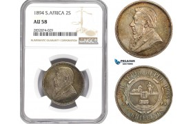 AD764, South Africa (ZAR) 2 Shillings 1894, Pretoria, Silver, NGC AU58