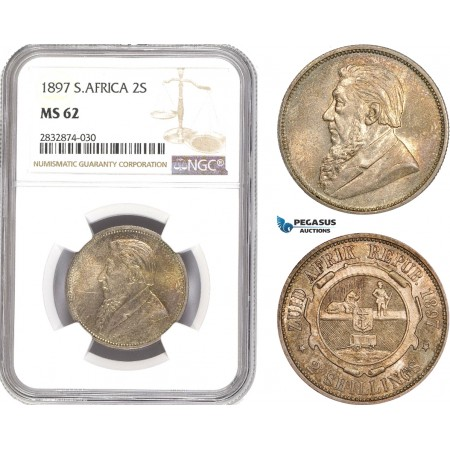 AD765, South Africa (ZAR) 2 Shillings 1897, Pretoria, Silver, NGC MS62