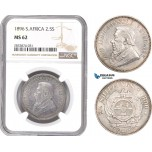 AD766, South Africa (ZAR) 2 1/2 Shillings 1896, Pretoria, Silver, NGC MS62
