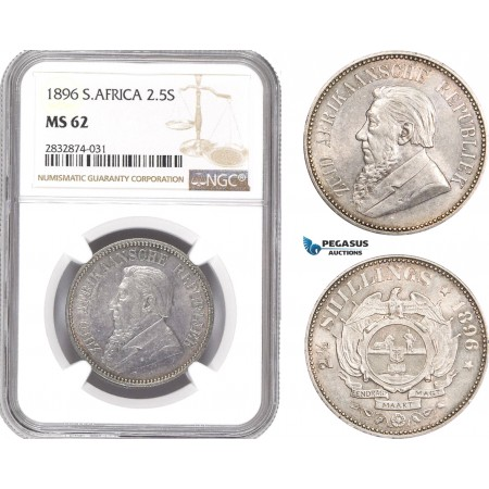 AD766, South Africa (ZAR) 2 1/2 Shillings 1896, Pretoria, Silver, NGC MS62