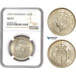 AD767, Southern Rhodesia, George VI, Half Crown 1942, Silver, NGC AU55