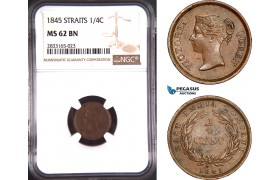 AD768, Straits Settlements, Victoria, 1/4 Cent 1845, NGC MS62BN