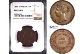 AD770, Straits Settlements, Victoria, 1 Cent 1845, NGC AU58BN