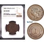 AD771, Straits Settlements, Victoria, 1 Cent 1883, NGC AU58BN