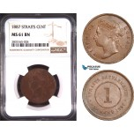 AD772, Straits Settlements, Victoria, 1 Cent 1887, NGC MS61BN