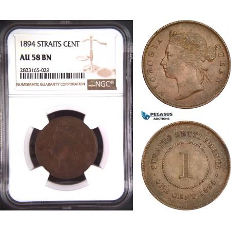 AD773, Straits Settlements, Victoria, 1 Cent 1894, NGC AU58BN