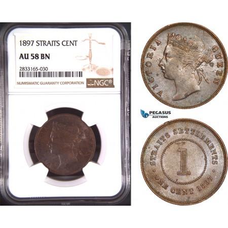 AD774, Straits Settlements, Victoria, 1 Cent 1897, NGC AU58BN