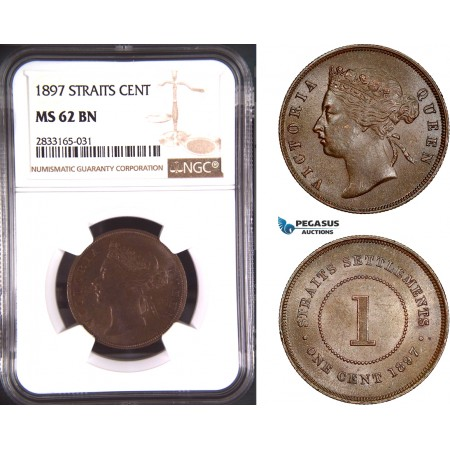 AD775, Straits Settlements, Victoria, 1 Cent 1897, NGC MS62BN