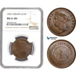 AD776, Straits Settlements, Victoria, 1 Cent 1901, NGC MS61BN