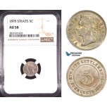 AD777, Straits Settlements, Victoria, 5 Cents 1895, Silver, NGC AU58