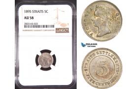 AD777, Straits Settlements, Victoria, 5 Cents 1895, Silver, NGC AU58