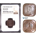 AD778, Straits Settlements, George V, 1 Cent 1920, Silver, NGC MS64BN